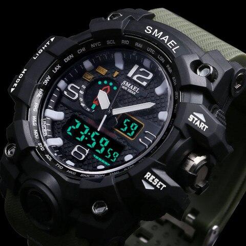 Men Military Watch 50m Waterproof Wristwatch LED Quartz Clock Smael Watch Male relogios masculino 1545 S Shock Sport Watch Men Lahore