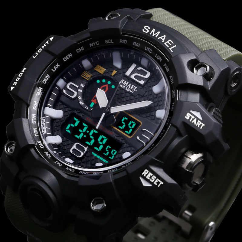 Relógio masculino militar de 50m, relógio de pulso impermeável, led, relógio de quartzo smael 1545 s shock esporte para homens homens
