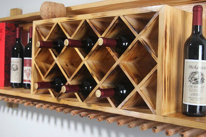 Wall Mounted Wood Wine Rack Hanging Bar