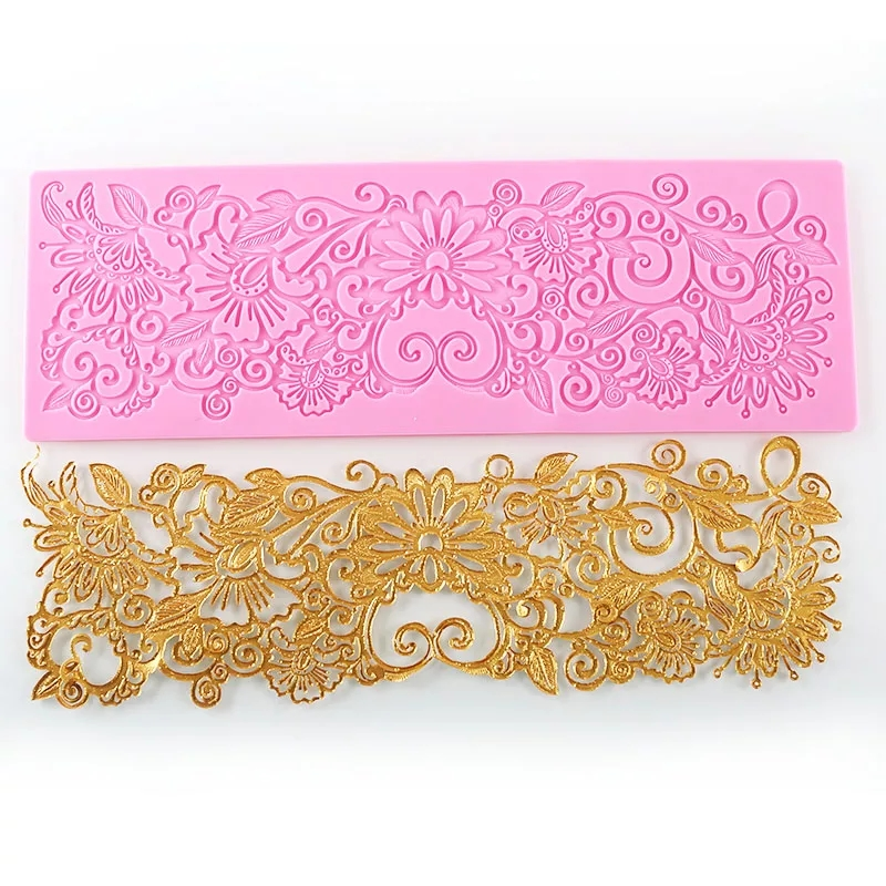 MX122 Blommönster Lace Mould Siliconsocker Lace Pad Cake Brim Decoration Mögel Köksredskap DIY Tool