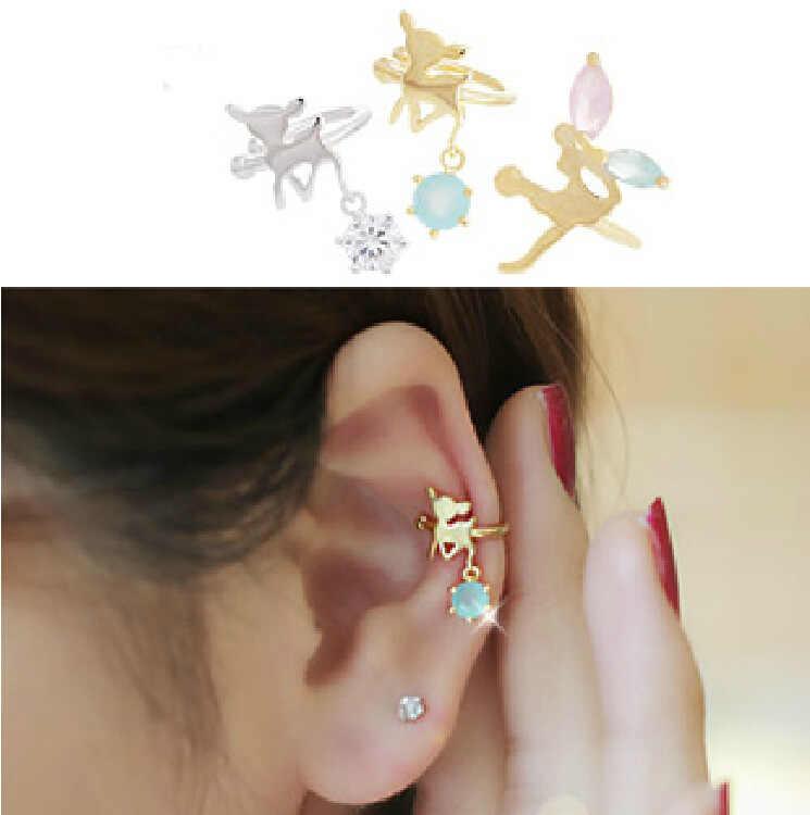 דרום קוריאה הוא לא פירסינג אוזן קליפ נשי U-סגסוגת rhinestones במבי מלאך Elf אוזן עצמות טבעת אוזן עצם תיקייה