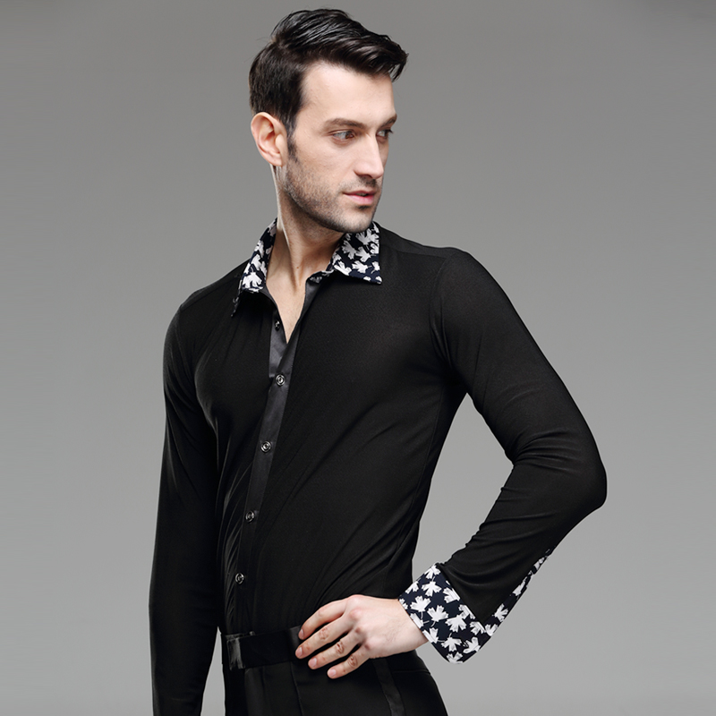 New Mens Dance Shirt Print Collar Standard Competition Performance Ballroom Modern Salsa Tango Samba Male Latin Tops Dancewear