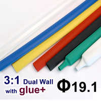 1.22meter/lot 19.1mm 3:1 Dual Wall Heat Shrink Tube with thick Glue heatshrink Tubing Adhesive Lined Cable Sleeve Wrap Wire kits