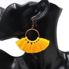 Ethnic Bohemian Long Rope Fringe Earring Drop Dangle Cotton Tassel Sector Earrings for Women Party Wedding Jewelry Cерьги все цены