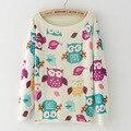 2017 spring women harajuku pullover sweater womens cat owl deer banana snowflake geometric pattern printing sweaters femme pull