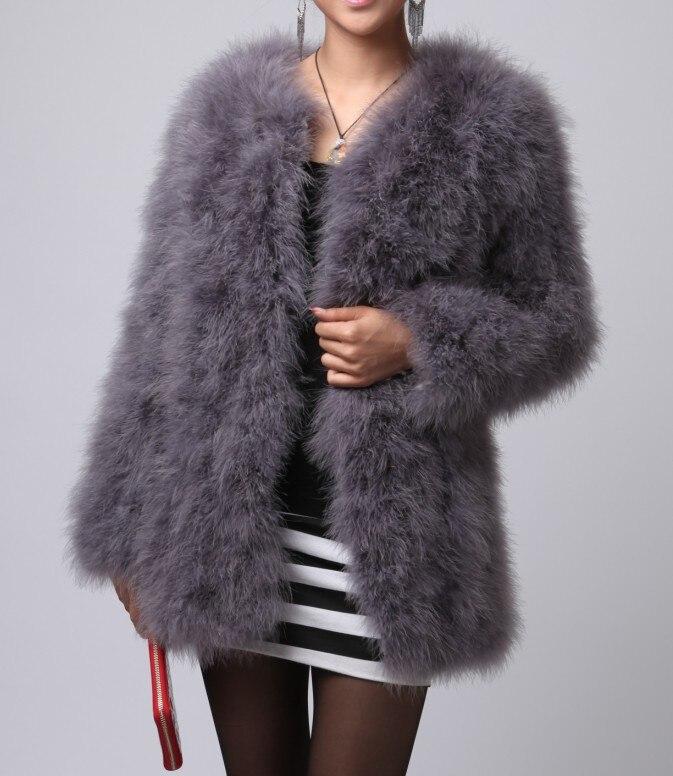 Fashion Real Ostrich Feather Fur Coat Women Winter Jacket soft Warm 21277 - Miss Co,. Ltd store