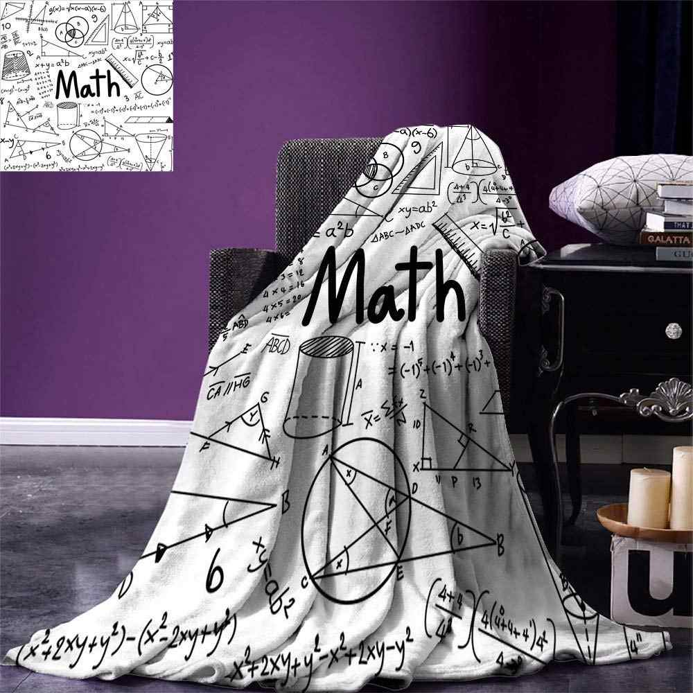 Mathematics Classroom Decor Throw Hand Written Math Text and Icons Equations Geometrical Shapes Warm Microfiber Blanket