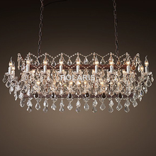 Vintage Crystal Chandelier Lighting Rustic Candle Chandeliers Pendant Lamp Hanging Light for Home and Restaurant