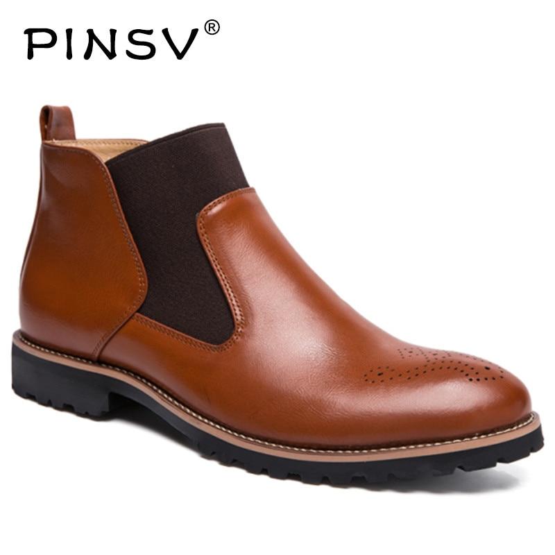 Black Bottes Hommes Mâle 38 Pinsv Cheville Taille En Richelieu Cuir Masculino Sapato Printemps 46 Chelsea brown Chaussures Noir wIaqCx4Hn