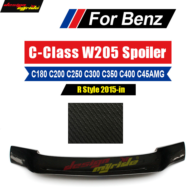 For <font><b>Mercedes</b></font> Benz C Class W205 Spoiler Tail R Style Carbon Fiber C200 <font><b>C300</b></font> C180 C250 C350 Rear Spoiler Trunk Wing <font><b>Coupe</b></font> 2015-in image