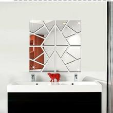Acrylic Mirror Sticker Name Geometric DIY Big Wall Stickers For Bathroom Toilette Poster Adesivo De Pared