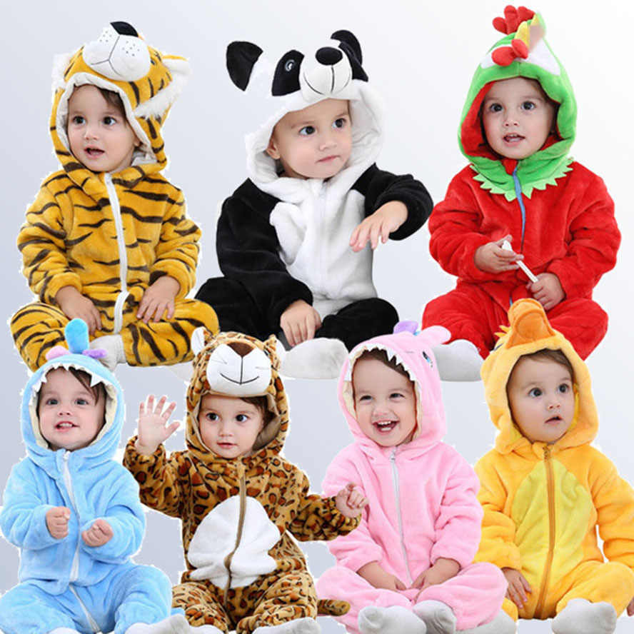 Flannel Boys Girls Animal Rompers 0 1 2 Years Cartoon Panda Cow Stitch Pig ChildrenHooded Newborn Baby Clothing bebes Jumpsuit