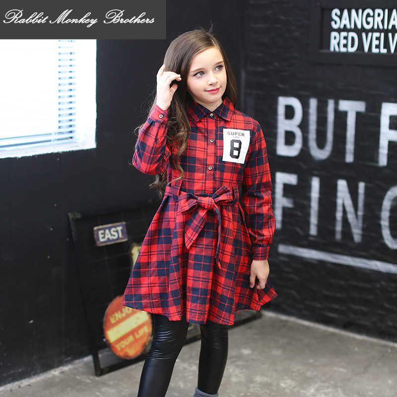British style Kids Dress Spring and Autumn girls red plaid dress Long-sleeved Princess children dress 13 14 years older girl children s spring and autumn girls bow plaid child children s cotton long sleeved dress baby girl clothes 2 3 4 5 6 7 years
