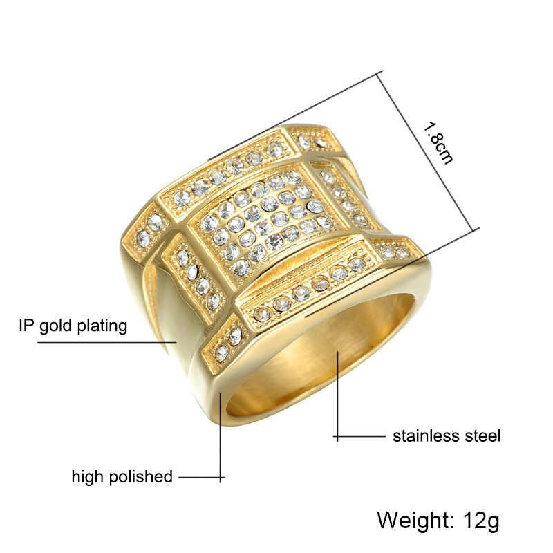 HIP Hop Micro Pave Rhinestone Iced Out Bling แหวนเรขาคณิต IP ทองไทเทเนียมแหวนสแตนเลสผู้ชายเครื่องประดับ
