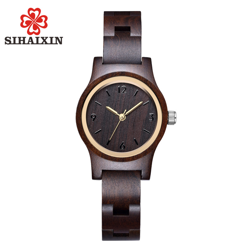 купить SIHAIXIN Ebony Wooden Watches Women Black Slim Wood Strap Quartz Analog Wrist Watch For Ladies Gift 2018 New Arrival по цене 1359.27 рублей
