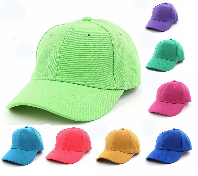 NEW Kids Plain Baseball Cap Adjustable School Girls Boys Junior Childrens  Hat Summer 5eb49efa0a40