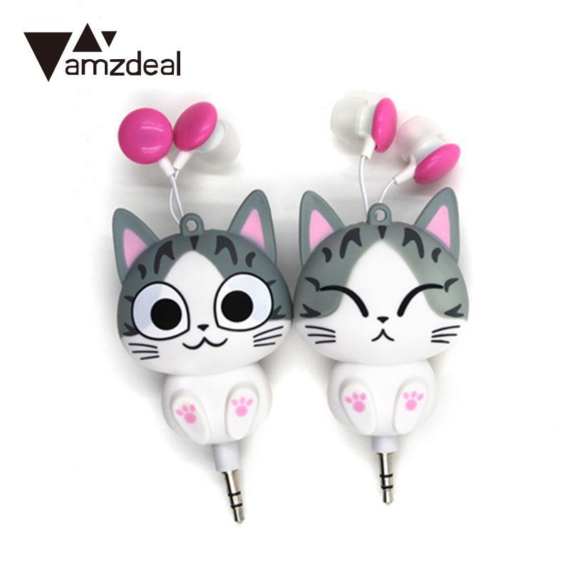 amzdeal New Cartoon Retractable 3.5mm Wired Earbud Earphones For Smart Phones PC Professional Music earphones headphones Gift