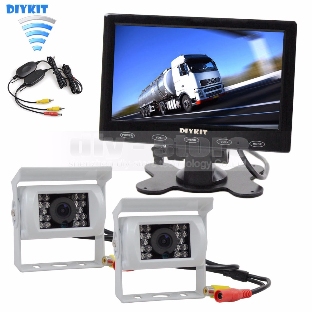 DIYKIT 7 inch Touch Car Monitor Backup CCD Waterproof Camera Rear View Kit for Horse Trailer Motorhome System diykit wired 12v 24v dc 9 car monitor rear view kit backup waterproof ccd camera system kit for bus horse trailer motorhome