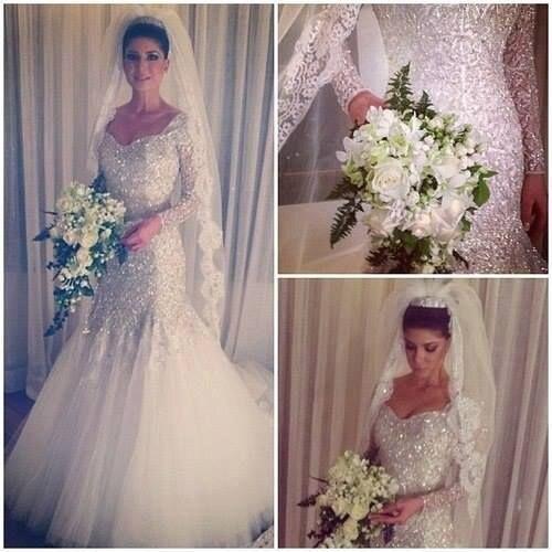 2015 brillantes del vestido de boda de lujo sirena cariño encaje ...