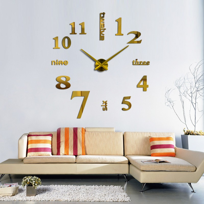 16 new arrival Quartz clocks fashion watches 3d real big wall clock rushed mirror sticker diy living room decor free shipping 3