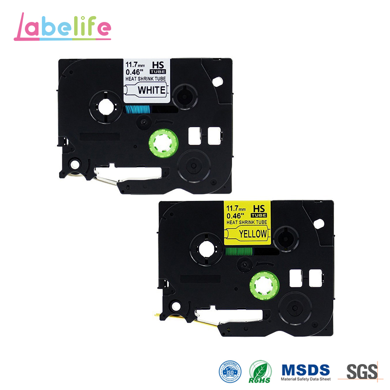 Labelife 2 Pack HSe-231 HSe-631 White & Yellow Combo Heat Shrink Tube Set Compatible Brother P-touch used in Telecom Industry