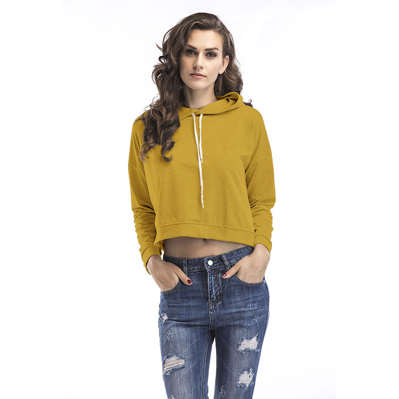 2017 New Design Women Pullover Casual Long Sleeves Grey Yellow Solid Cotton Autumn Girls Crop Top Hoodies Sweet Female pullover