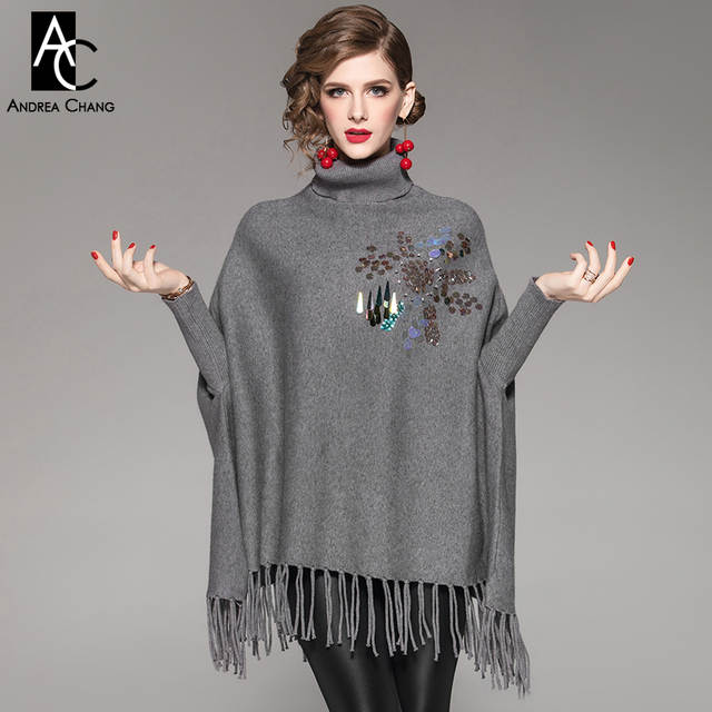 773f1c1f23d US $53.01 20% OFF autumn winter women sweater cape flower pattern beading  chest tassel bottom batwing sleeve vintage black gray red sweater cape-in  ...