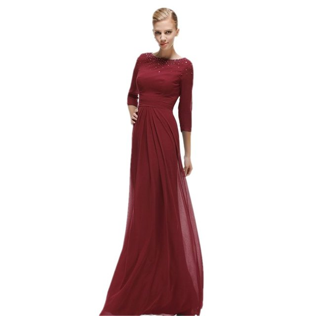 2017 Burgundy Bridesmaid Dress Long With Sleeves Beaded Vintage ...
