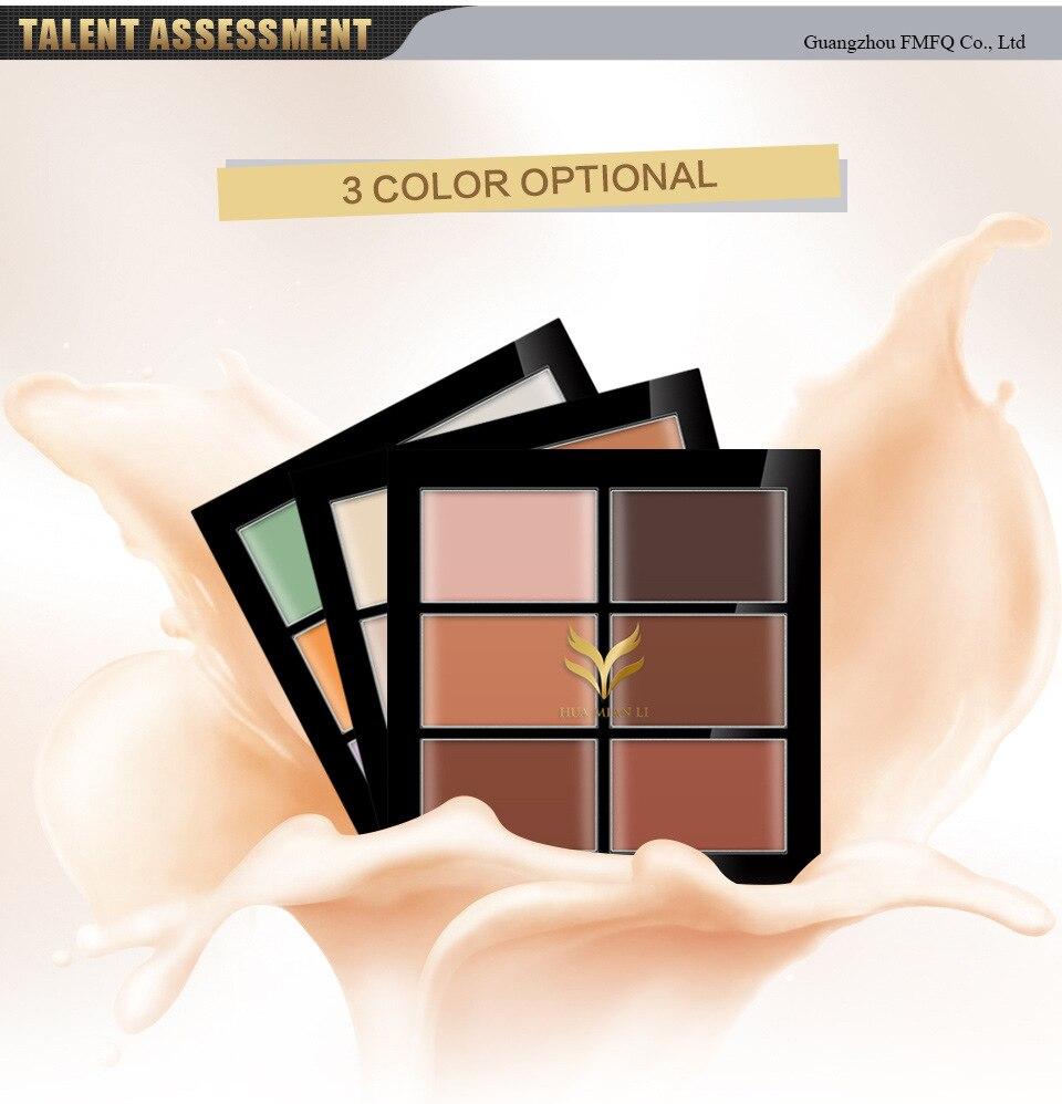 Original Brand 6 Color Concealer Cover Dark Circle Waterproof Face Makeup Create 3D Face Contour Palette