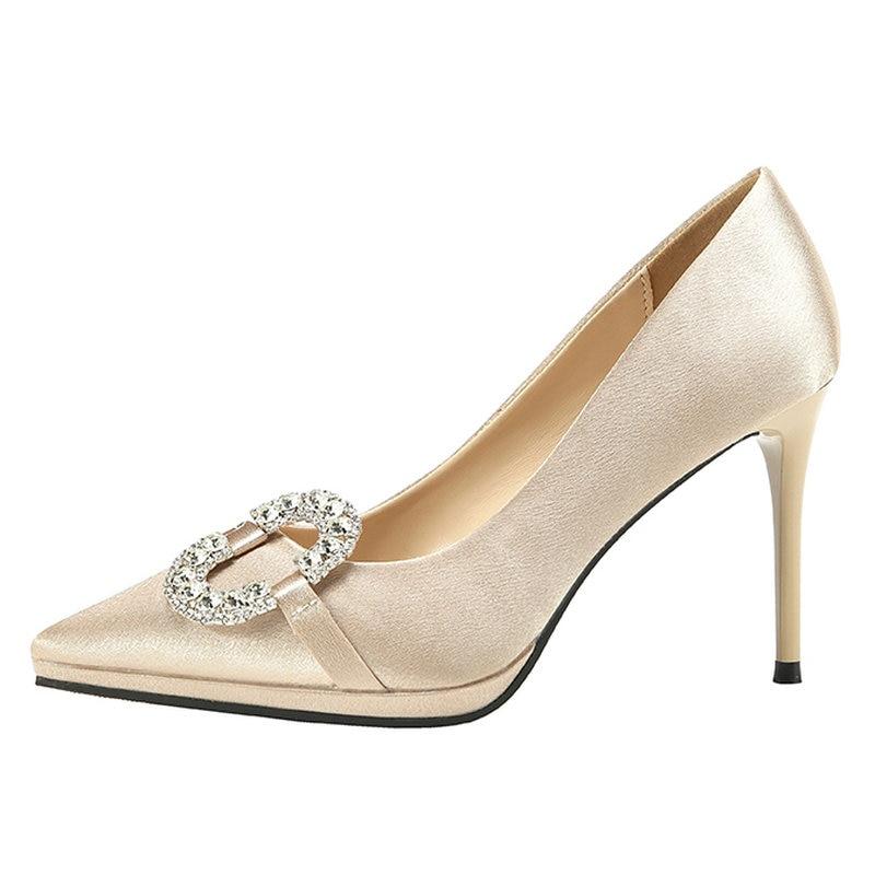 Lady Cm 39 Élégant Soie 34 Chaussures Décoration Femelle Taille Orteils gris En or rouge Robe Pointu Métal Talons Carrière Pompes Femme Noir Femmes 9 IEH2WDY9