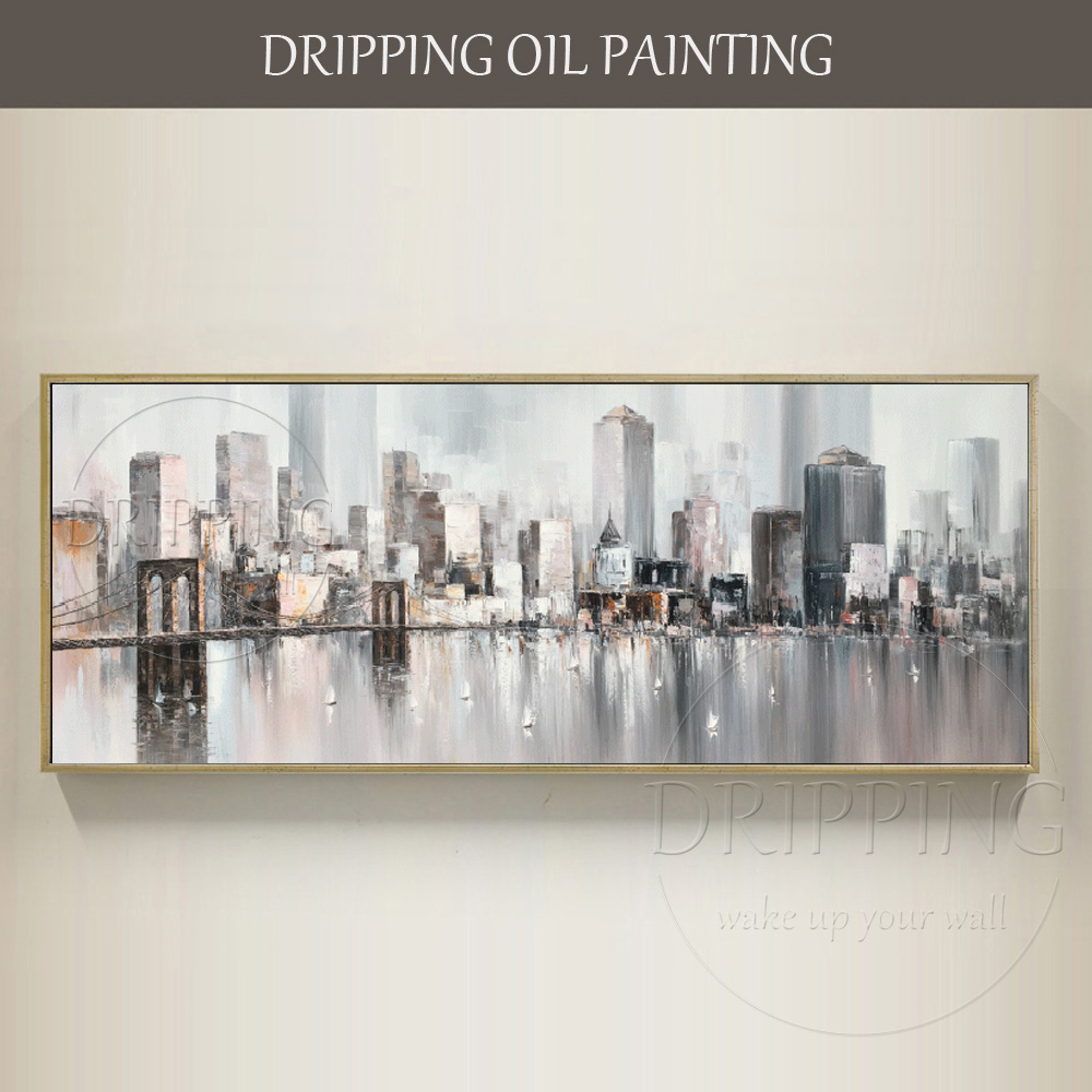 Top Artist Hand-painted High Quality Abstract Cityscape Big Building Oil Painting on Can ...