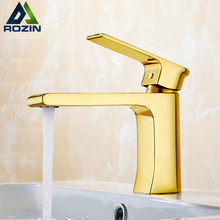 European Style Golden Square Bathroom Vanity Sink Faucet Single Handle Long  Spout Washing Basin Mixers With