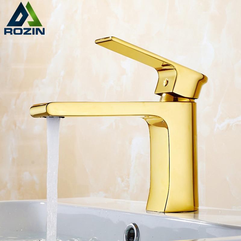 Stile europeo Golden Square Bathroom Vanity Sink Faucet Single Handle Lungo Beccuccio Miscelatori Lavabo con Acqua Calda e fredda