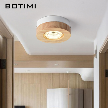 BOTIMI Modern 3W LED Ceiling Lights Round Wooden Small Surface Mounted Corridor Lights Square Wooden Kitchen Ceiling Lamp modern wooden ceiling lights japanese china style wooden led lamp indoor lighting art decoration idyllic village suspension lamp