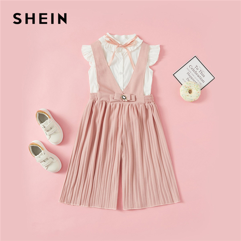 Фото - SHEIN Kiddie Ruffle Tie Neck Shirt And Pleated Pants Elegant Two Piece Girls Clothing Set 2019 Summer Cap Sleeve Kids Girl Suit tie neck floral embroidered longline dress