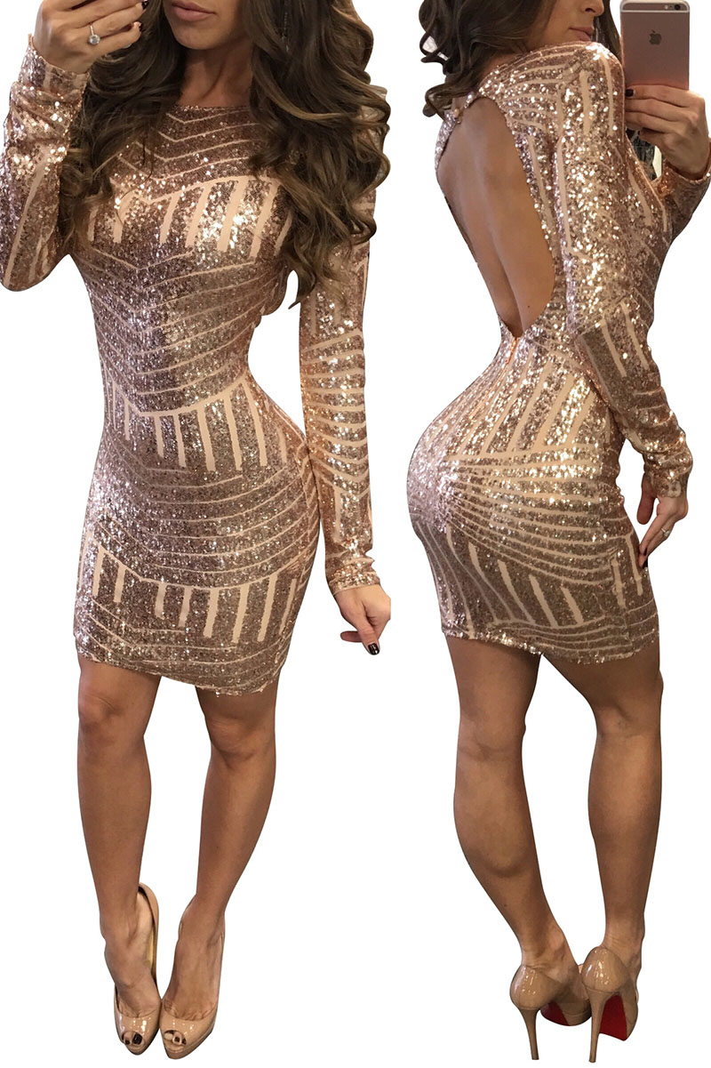 Sexy Sequins Open Back Mini Dress With Long Sleeves Women Shiny Bodycon Slim Fitted Top Backless Club Dress For Ladies Rose Gold