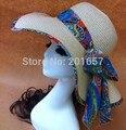 Женская мода Широкий Большой Брим Floppy чехии Японии чешские большой лук Вс Соломенная Шляпка Cap для взрослых 57 см