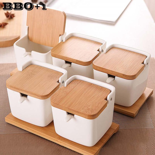 Stockage de sel, Pot à épices, cuisine, sucre, sel, porcelaine, bocaux à poivre, conteneur couvercle cuillère boîte en céramique couvercle en bambou, support à condiments pour assaisonnements