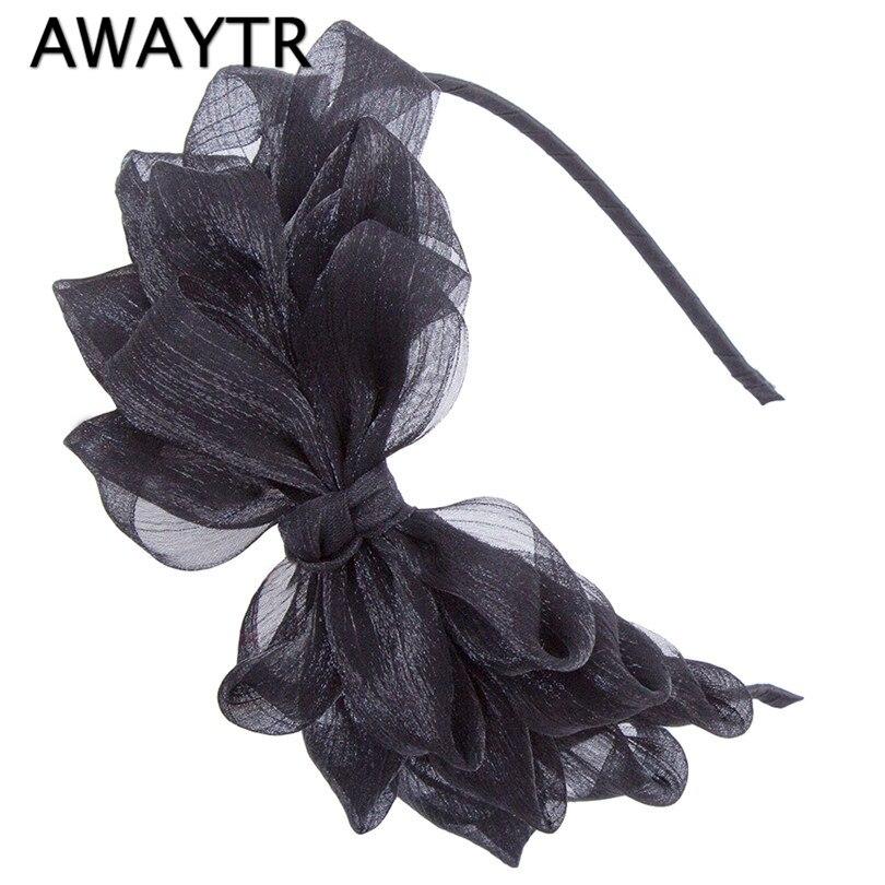 Black Flower Bow With Diamond: AWAYTR Hot Ribbon Big Bow Floral Shining Hair Band Womens