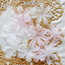20Pcs Pink Off White Lace Patch Organza Applique Accessories Wedding Dress DIY Bride Hair Veil Fabric Flowers For Crafts