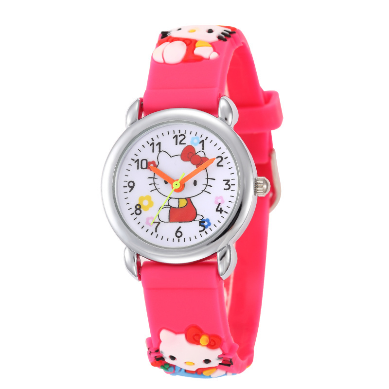 Children Cartoon Hello Kitty Watches 2016 Cool 3D Rubber Strap Kids Watch Quartz Watch Clock Hour Christmas Gift Relojes Relogio beautiful cartoon rubber strap quartz watch with plane and cloud shaped watchband for children azure