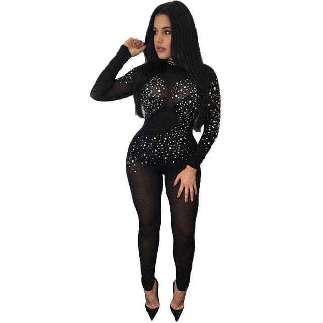 Overalls Club Wear Sexy See Through Mesh Jumpsuit Bodycon -5417