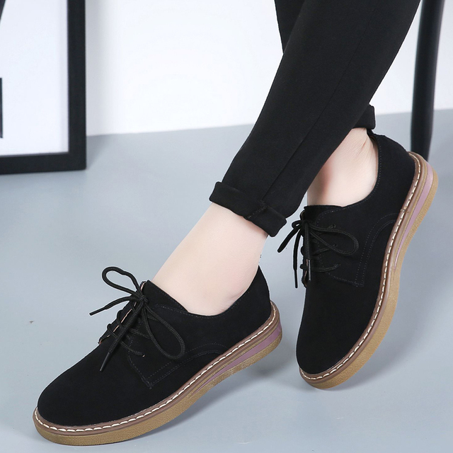 Cow Suede Leather women Flats oxford shoes Spring Ladies sneakers Loafers Casual Shoe 2018 Moccasin Plus Size Autumn Boat Shoes 4