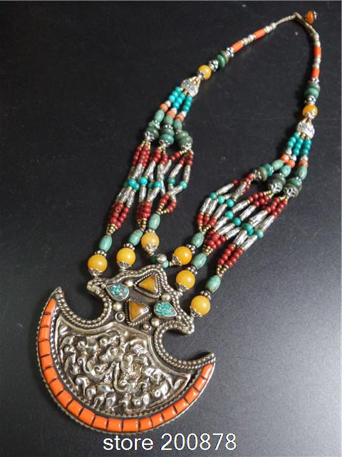 TNL184  Master Design Nepal Indian brass inlaid Stone coral pendant necklace Multi Statements Big Pendants BOHO Necklace