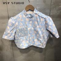 【HSY Studio】 2019 autumn new pearl button cotton ins blouse instagram short sleeve cat prints women shirt