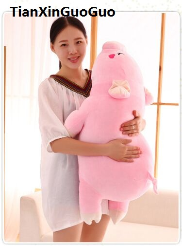 large 90cm cartoon cute prone pink pig plush toy very soft hugging pillow birthday gift h2200 stuffed animal 120 cm cute love rabbit plush toy pink or purple floral love rabbit soft doll gift w2226
