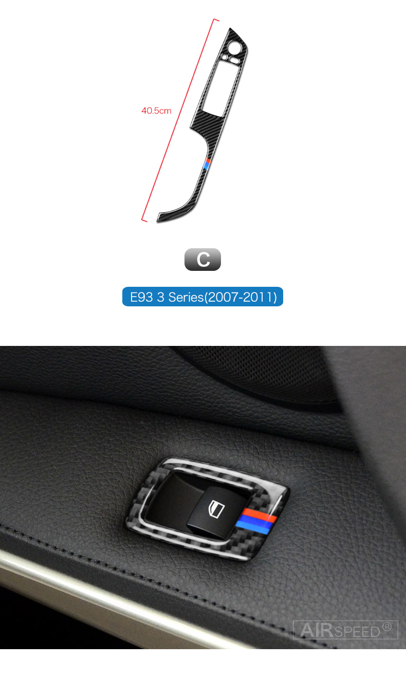 BMW 3 Series E90 E93 Accessories LHD Car Interior Carbon Fiber Door Window Switch Panel Cover Trim Car Styling (3)