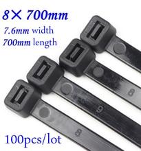 цены 8x700mm Self locking Nylon Cable Ties Plastic Zip Tie Black/White wire binding wrap straps Nylon 66 8*700mm 100pcs/lot