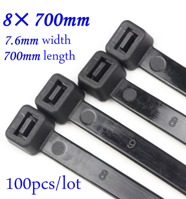 fa23ae4a9c64 8x700mm Self locking Nylon Cable Ties Plastic Zip Tie Black/White wire  binding wrap straps Nylon 66 8*700mm 100pcs/lot