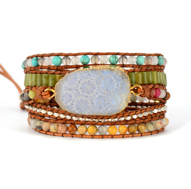 b85c3cb8cede9 Vintage Leather Bracelets Natural Stones Chrysanthemum Stones Charm 5  Strands Wrap Bracelets Boho Bracelets Dropshipping